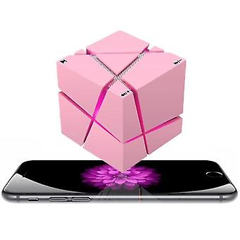 Wireless Portable Hi Fi Player, Led Square Cube Stereo Bluetooth Lautsprecher (Pink)