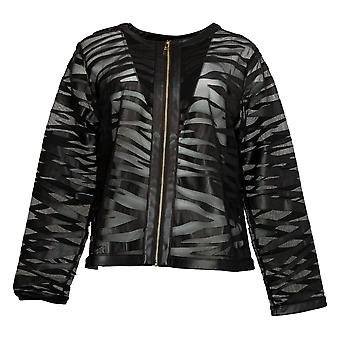 Colleen Lopez Women's Faux Leather Mesh Tiger Jacket Black 749512