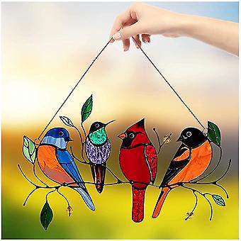 Vögel auf einem Draht Gebeizt Hohe Sonnenfänger Fensterplatte, Sonnenfänger hängend Gebeizt Vogelfenster, Ird Serie Ornamente Heimdekoration, Geschenke für Vogel Lov