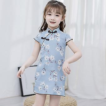 Short-sleeve Children Cheongsam Chinese Style Dress Han Clothing