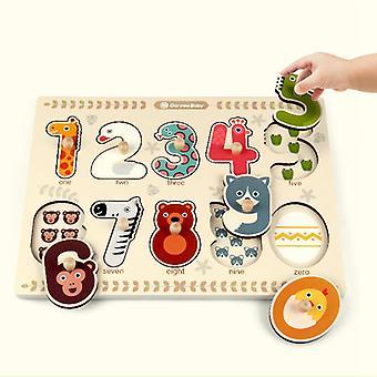 Barn Tre Leker Dyr Form Matematikk Puslespill Spillet