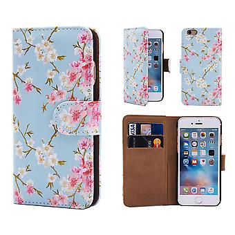 32nd Floral Design Book for Apple iPhone 6 6S - Spring Blue