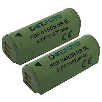 2 x Dot.Foto Canon NB - 9L, NB-9LH batteri - 3.5 ~ 3.7V / 870mAh