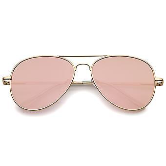 Небольшие матовой металлической розовое золото розовый зеркало плоский объектив авиатор солнцезащитные очки 56 мм