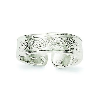 925 Sterling Silver Solid Textured Toe Ring Jewely Gifts for Women - 1.6 Grams