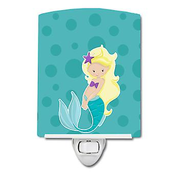Carolines Treasures  BB8824CNL Beach Mermaid Blonde Hair Ceramic Night Light