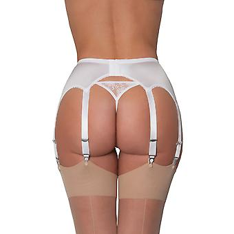 Nylon Dreams NDL9 Women's White Solid Colour Lace Garter Belt 8 Strap Suspender Belt