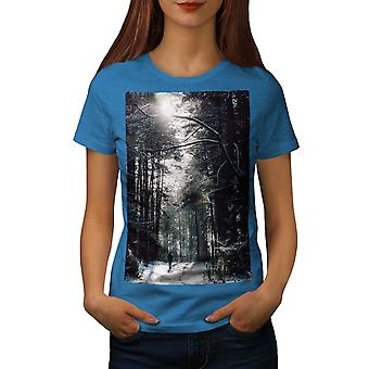 Forest Winter Wild Women Royal BlueT-shirt | Wellcoda