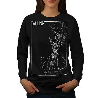 Tallinn City Map Mode Frauen BlackSweatshirt | Wellcoda
