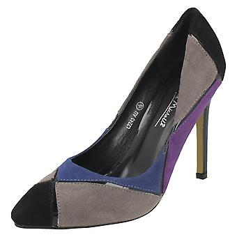 Ladies Anne Michelee Multi Colour Harlequin Pattern Heels
