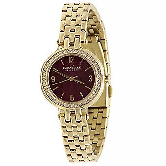 Caravelle 44L174 Women's New York Pink Dial Yellow Gold Steel Crystal Watch