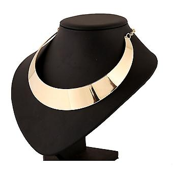 Womens Rock Chic Gold Choker Collar Necklace