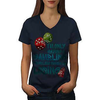 Gambling Problem Funy Women NavyV-Neck T-shirt | Wellcoda