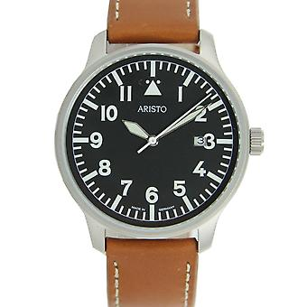 Aristo mens watch polshorloge pilot's watch quartz roestvrij staal 3 H 84