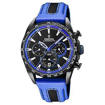 Festina Mens Sport Chronograph blå läderrem svart urtavla F20351/2 Watch