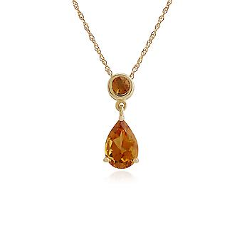 Classic Pear & Round Citrine Pendant Necklace in 9ct Yellow Gold 186P0188069