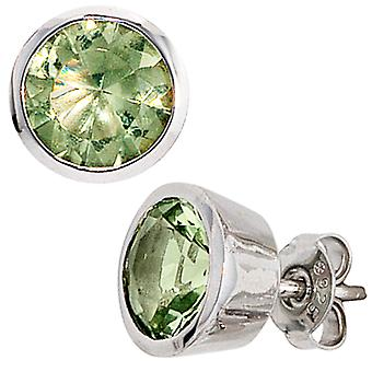 Earring studs, 925-sterling silver, rhodium-plated, 2 green crystals, earrings silver
