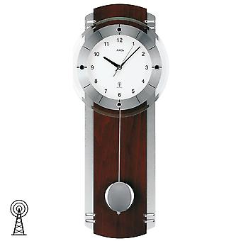 Radio controlled wall clock radio clock with pendulum Walnut silber chrome painted mineral glass