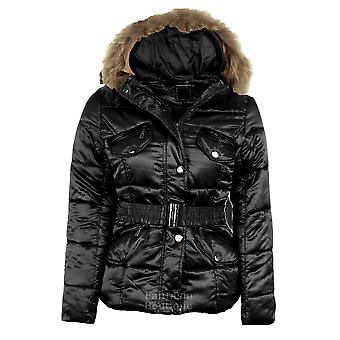 Ladies Quilted Padded Gold Celeb Style Hooded Bubble Fur Belted Women's Jacket