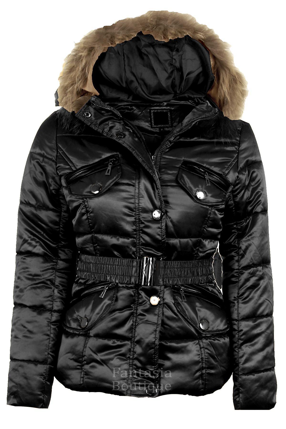 Hyvät tikattu pehmustettu Gold Celeb Style hupullinen kupla turkis turvavyötä Naisten takki