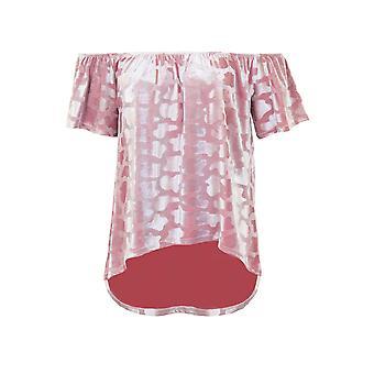 Damen Short Sleeve Bardot Animal Print hohe niedrige samt metallischen Flare Top