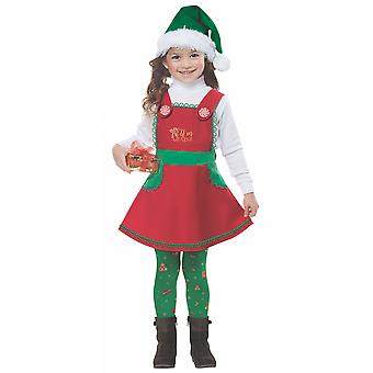 Elf i kostnad Santa Helper Christmas ferie Dress opp pjokk jenter drakt