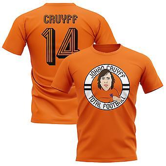 Johan Cruyff Holland Illustration T-Shirt (Orange)
