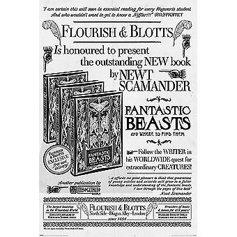 Cartel de animales fantásticos los crímenes de Grindelwald libro publicidad de flourish y favorito (callejón Diagon)