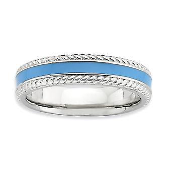 4.5mm 925 Sterling Silver Rhodium plated Stackable Expressions Polished Blue Enameled Ring Jewelry Gifts for Women - Rin