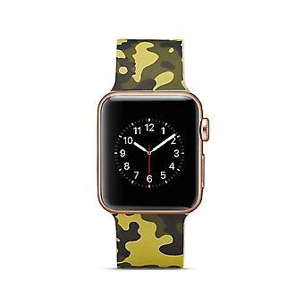 Cinturino per orologio in silicone per Apple Watch 4 40mm, 3/2/1 camuffamento verde dell'esercito 38mm