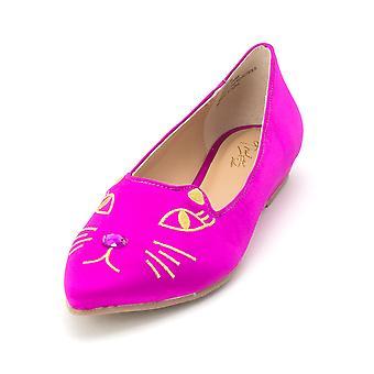 Thalia Sodi Womens rosa tecido apontou Toe mocassim