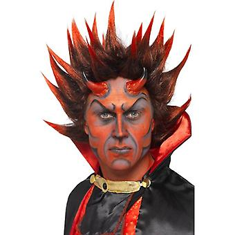 Tall Red & Black Spikey Wig, Devil Punky Wig, Red and Black. Halloween
