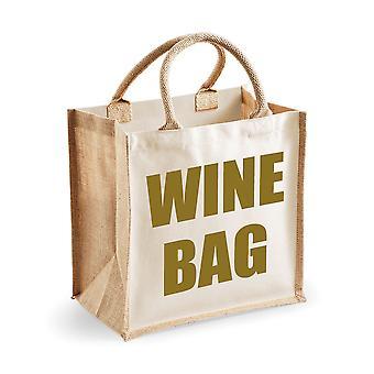 Medium Natural Gold Jute Bag Wine Bag