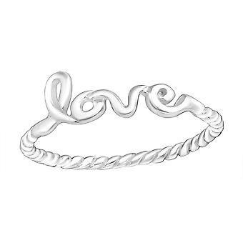 Liebe Schriftzug - 925 Sterlingsilber Plain Ringe - W15712X