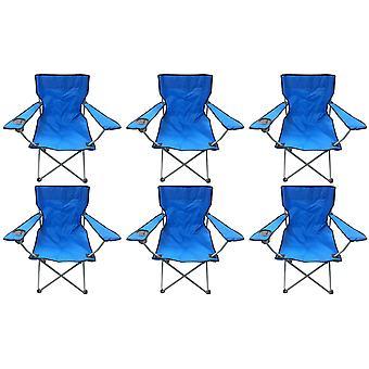6 Blue & Black Lightweight Folding Camping Beach Captains Chairs