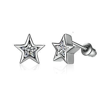 Woman star adorned with Crystal from Swarovski white and Silver 925 earrings