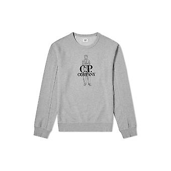 C.P. Company Undersixteen Grey Embroidered Logo Sweatshirt