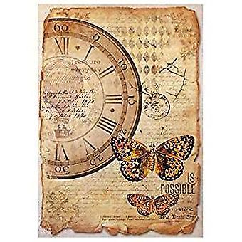 Stamperia Rice Paper A4 Mix Media Clock & Papillon