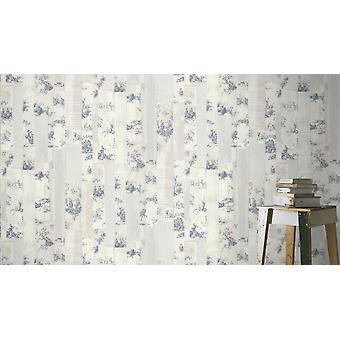 Rasch Toile De Jouy Wallpaper Tablón afligido madera gris beige azul pasta pared