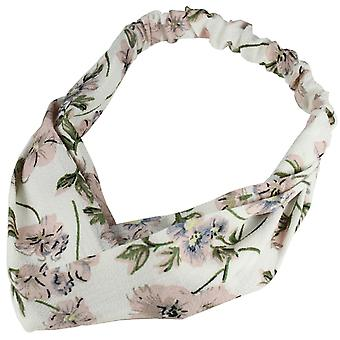 Molly & Rose Twist Knot Head Wrap Headband Vintage Flowers White