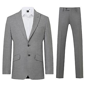 Dobell Mens Hellgrau 2 Stück Anzug Slim Fit Peak Revers