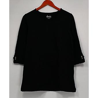 Denim et Cie. Femmes apos;s Top 3/4 Sleeve Knit Tunic Black A230907