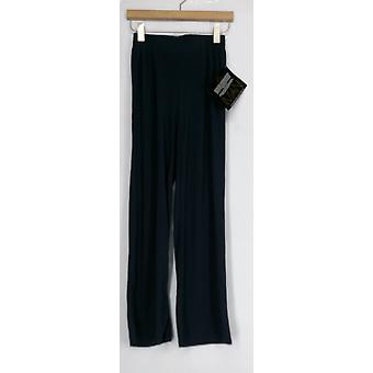 Iman Pants Wide Leg Palazzo Style Pull On Seam Detail Blue Womens 394-907