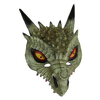 Dark White Horned Dinosaur Adult Halloween Mask Costume Accessory