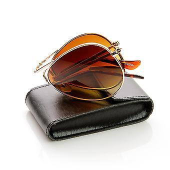 طبعة محدودة قابلة للطي جيب الطيار النظارات الشمسية + حقيبة