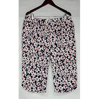 Carole Hochman Women's Petite Lounge Pants Floral Blossom Cotton Blue A302161