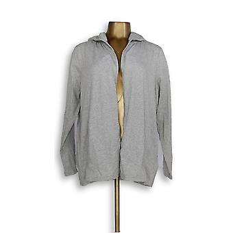 Anybody Women's Sweater MP Cozy Knit Hooded Cardigan Gray A349790