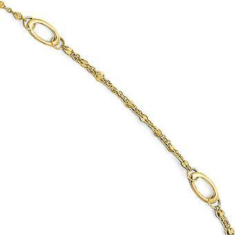 14k Yellow Gold lucido con 1 pollice ext. cavigliera - 10 pollici