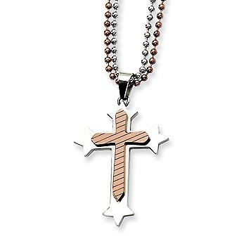 Stainless Steel Polished Engravable Lobster Claw Closure Brown IP plated Religious Faith Cross Necklace 24 Inch Jewelry