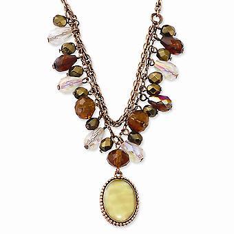 Ausgefallene Hummer Verschluss Kupfer Ton Multicolor Acryl Perlen und simulierte Perlmutt 16inch mit Ext Halskette Juwelier